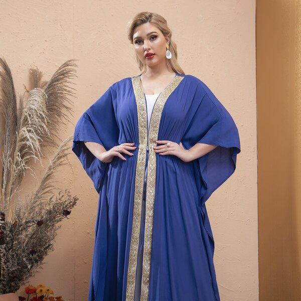 Plus Contrast Trimmed Drawstring Waist Batwing Sleeve Abaya, Blue