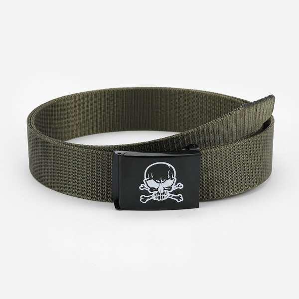 Men Skull Print Belt, Army green