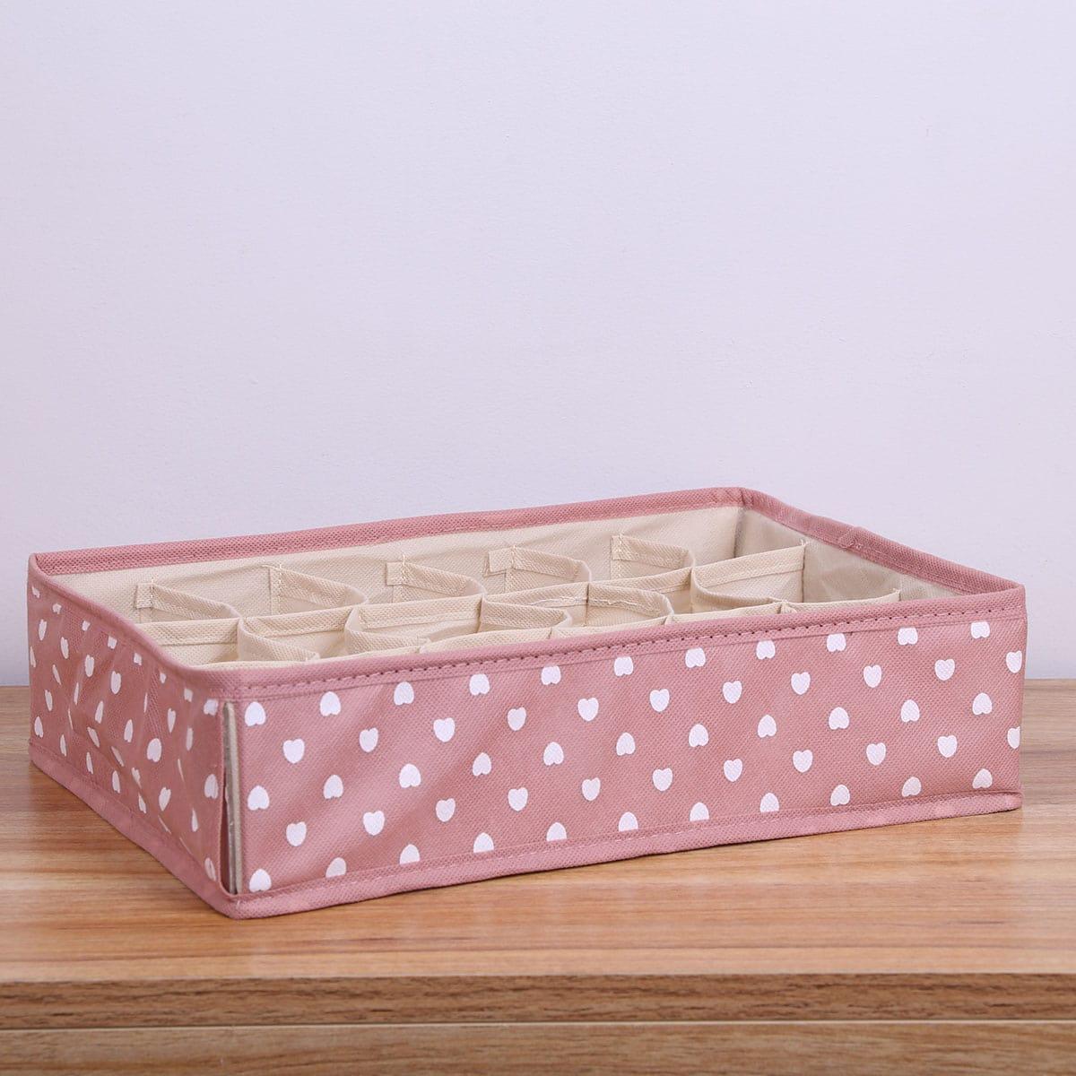 Коробка для хранения носков с принтом сердца, 1шт