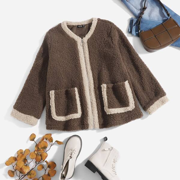 Plus Zip Up Pocket Patched Contrast Trim Teddy Jacket, Mocha brown