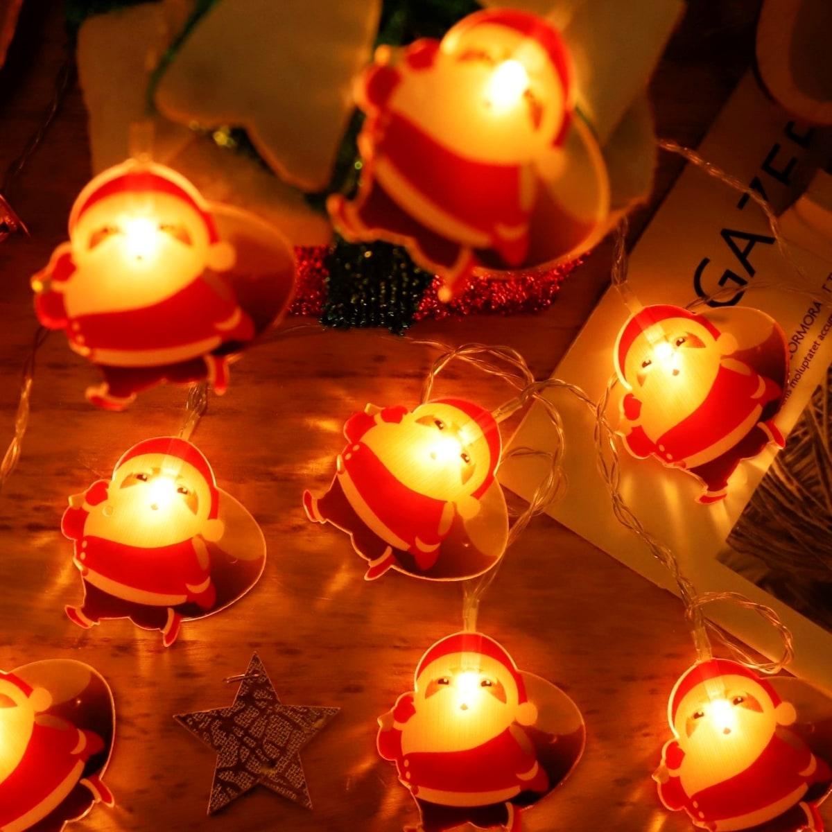 1pc Christmas String Light With 10pcs Santa Claus Bulb