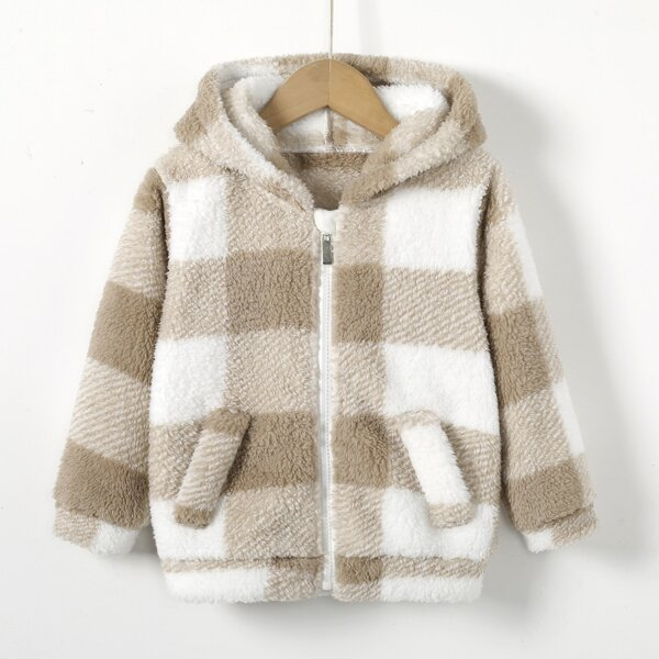 Toddler Boys Buffalo Plaid Print Zip Up Hooded Flannel Jacket, Multicolor