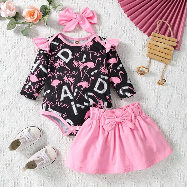 Baby Letter And Flamingo Print Ruffle Trim Bodysuit & Bow Front Skirt With Headband, Multicolor