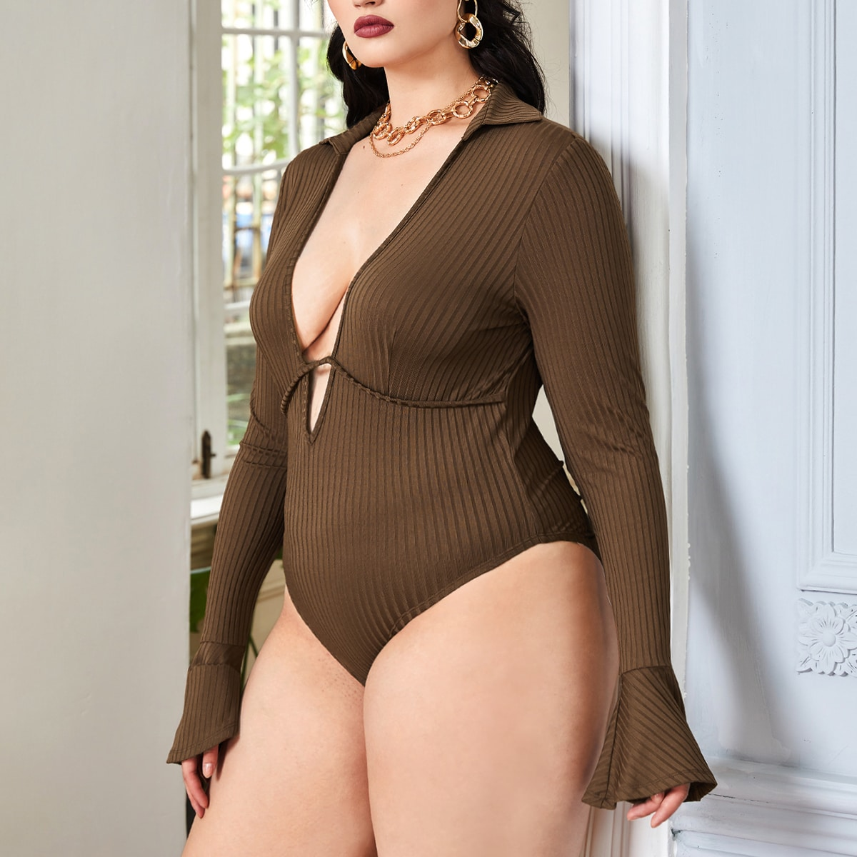 Plus Plunging Neck Ribbed Knit Flounce Sleeve Bodysuit