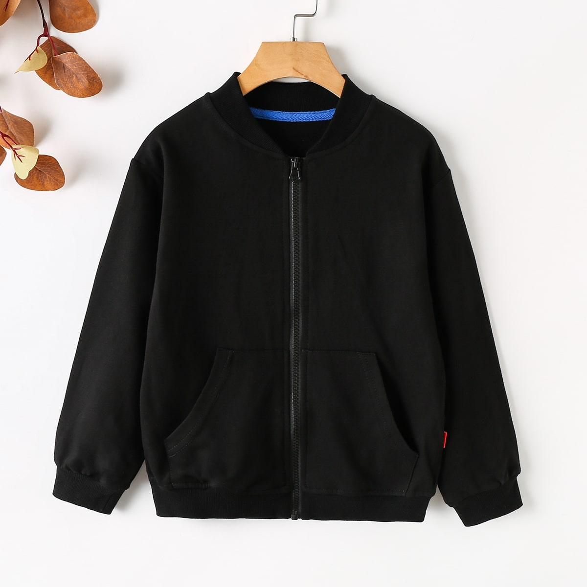 Boys Slant Pocket Zipper Bomber Jacket