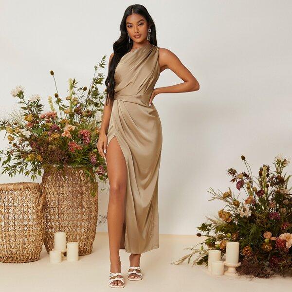 One Shoulder Ruched Wrap Hem Satin Bridesmaid Dress, Khaki