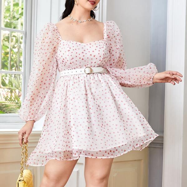Plus Sweetheart Neck Confetti Heart Print Lantern Sleeve Mesh Dress Without Belt, White
