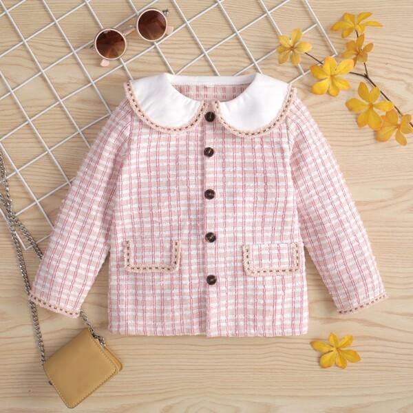 Toddler Girls Plaid Pattern Raw Trim Peter-pan Collar Overcoat, Multicolor