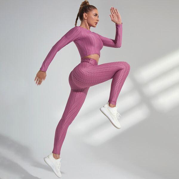 High Stretch Softness Sports Tee and Leggings Set, Mauve purple