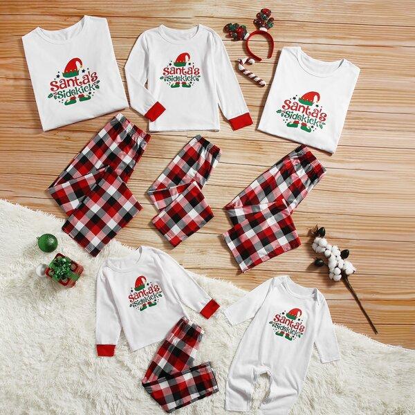 1pc Christmas Print Contrast Trim Sleep Top & 1pc Plaid Print Sleep Pants, Multicolor