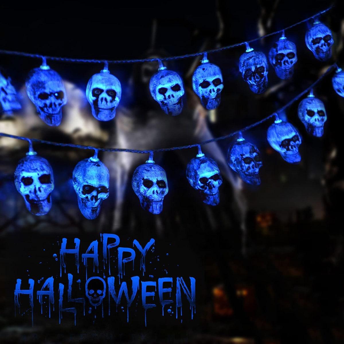 1pc Halloween String Light With 10pcs Skull Bulb