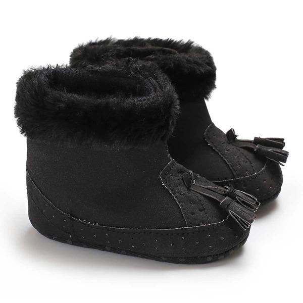 Baby Tassel Decor Fluffy Boots, Black