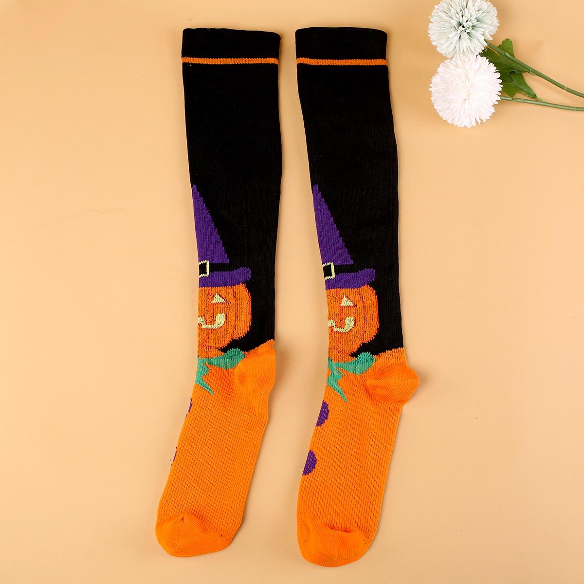 Носки выше голени на хэллоуин с принтом тыквы