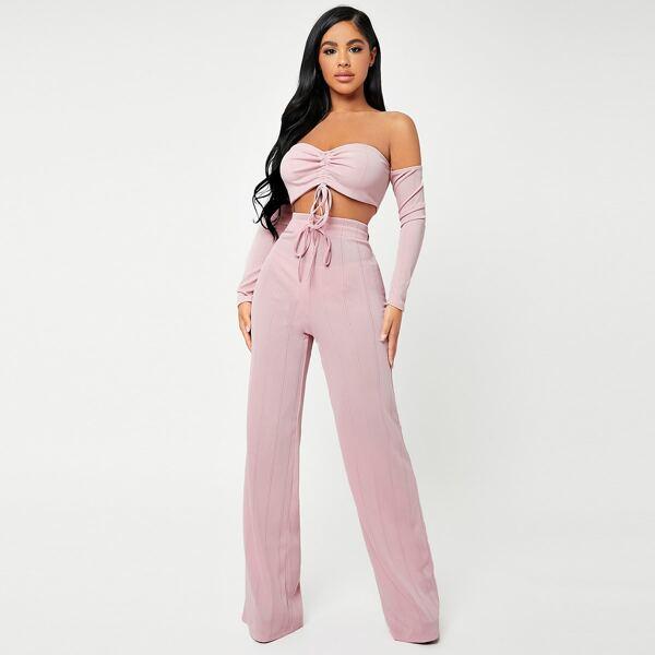 Off Shoulder Ruched Knot Crop Top & Wide Leg Pants Set, Baby pink