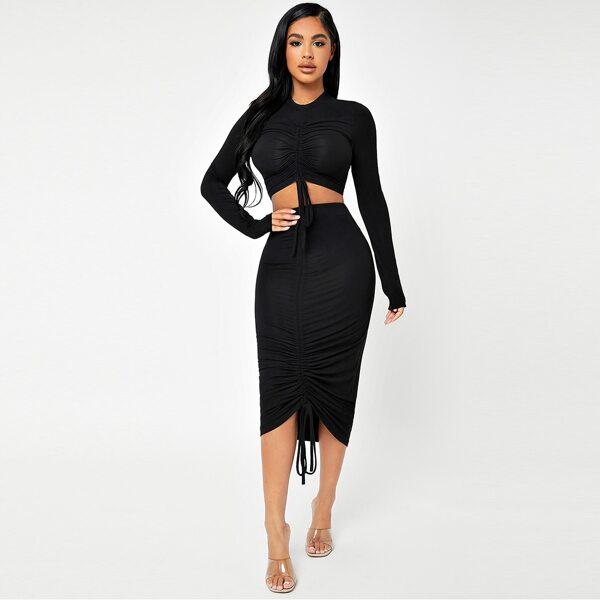 Mock Neck Ruched Knot Crop Tee & Pencil Skirt Set, Black