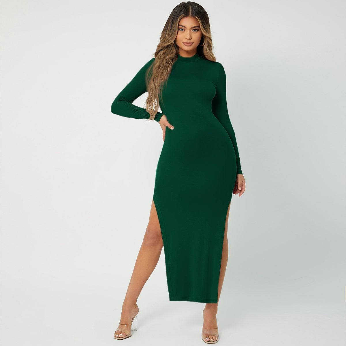 Slit Thigh Mock Neck Bodycon Dress
