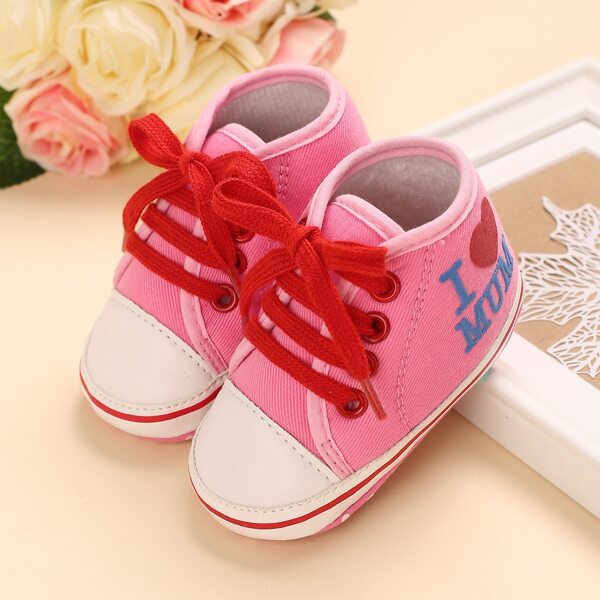 Baby Lace-up Front Sneakers, Pink