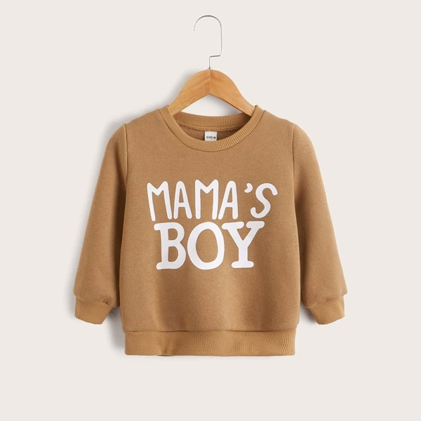 Toddler Boys Slogan Graphic Pullover, Camel