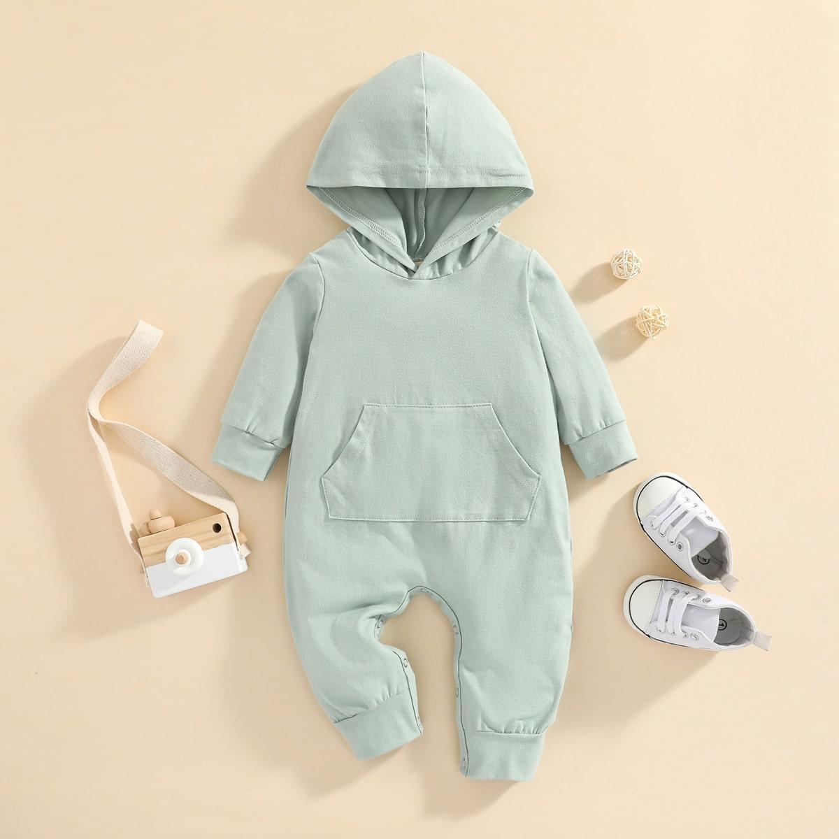 Baby Kangaroo Pocket Hooded Jumpsuit