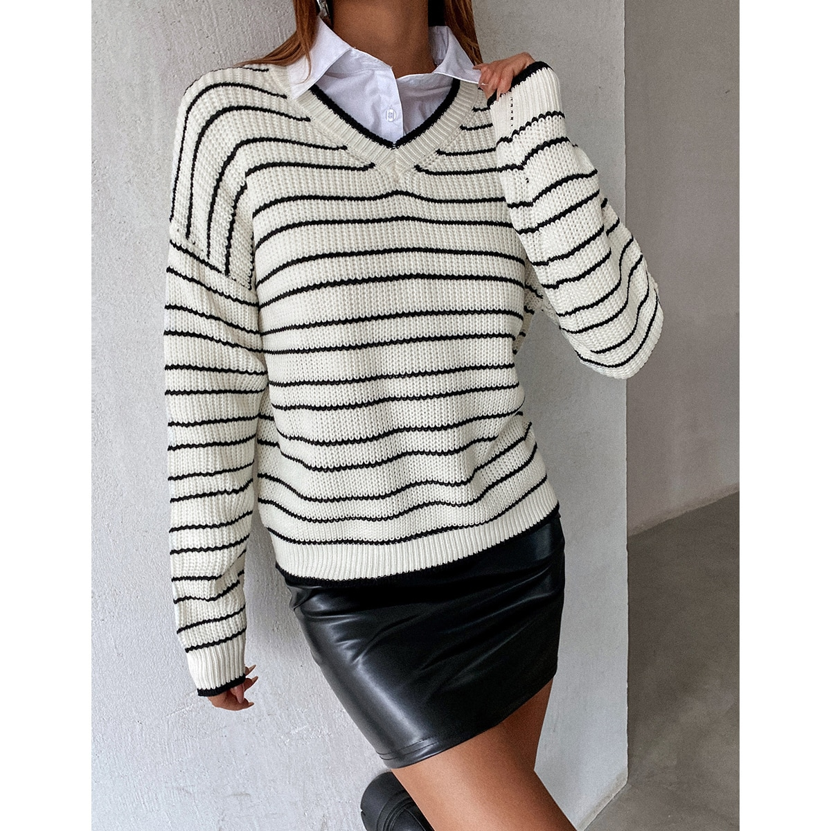 Striped Pattern Drop Shoulder Sweater Without Blouse