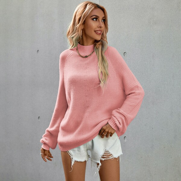 Stand Neck Raglan Sleeve Sweater, Coral pink