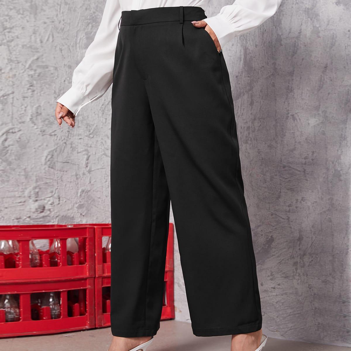 Plus High Waist Wide Leg Tailored Pants