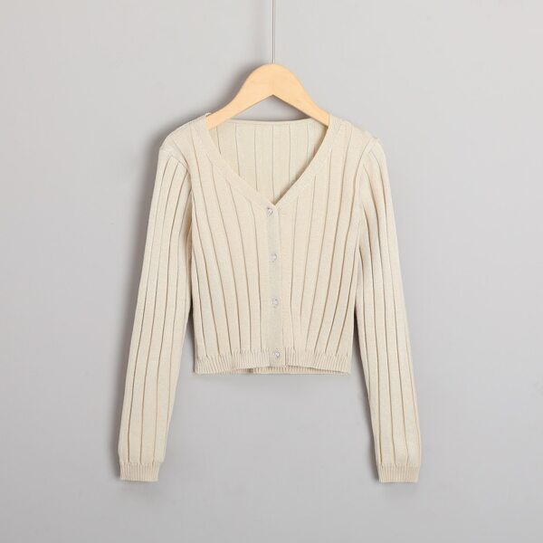 Girls Solid Button Front Cardigan, Apricot