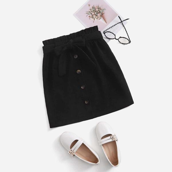 Girls Paperbag Waist Belted Button Front Skirt, Black