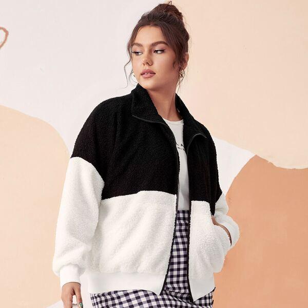 Plus Two Tone Zip Up Drop Shoulder Fleece Jacket, Black and white