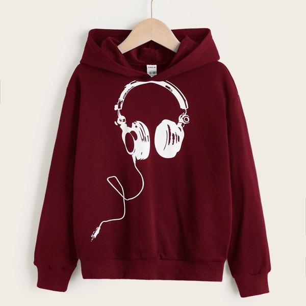 Boys Headphone Print Drop Shoulder Hoodie, Burgundy