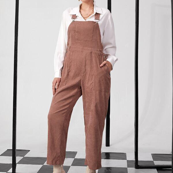 Plus Slant Pocket Corduroy Overall Jumpsuit, Dusty pink