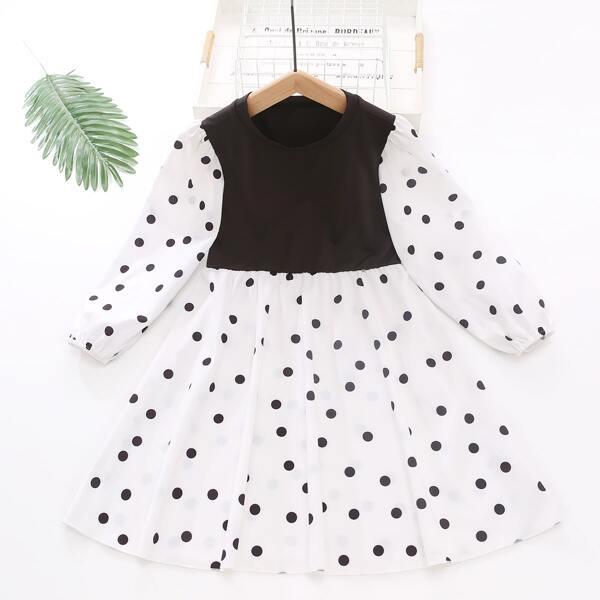 Girls Polka Dot Panel Puff Sleeve Dress, Black and white