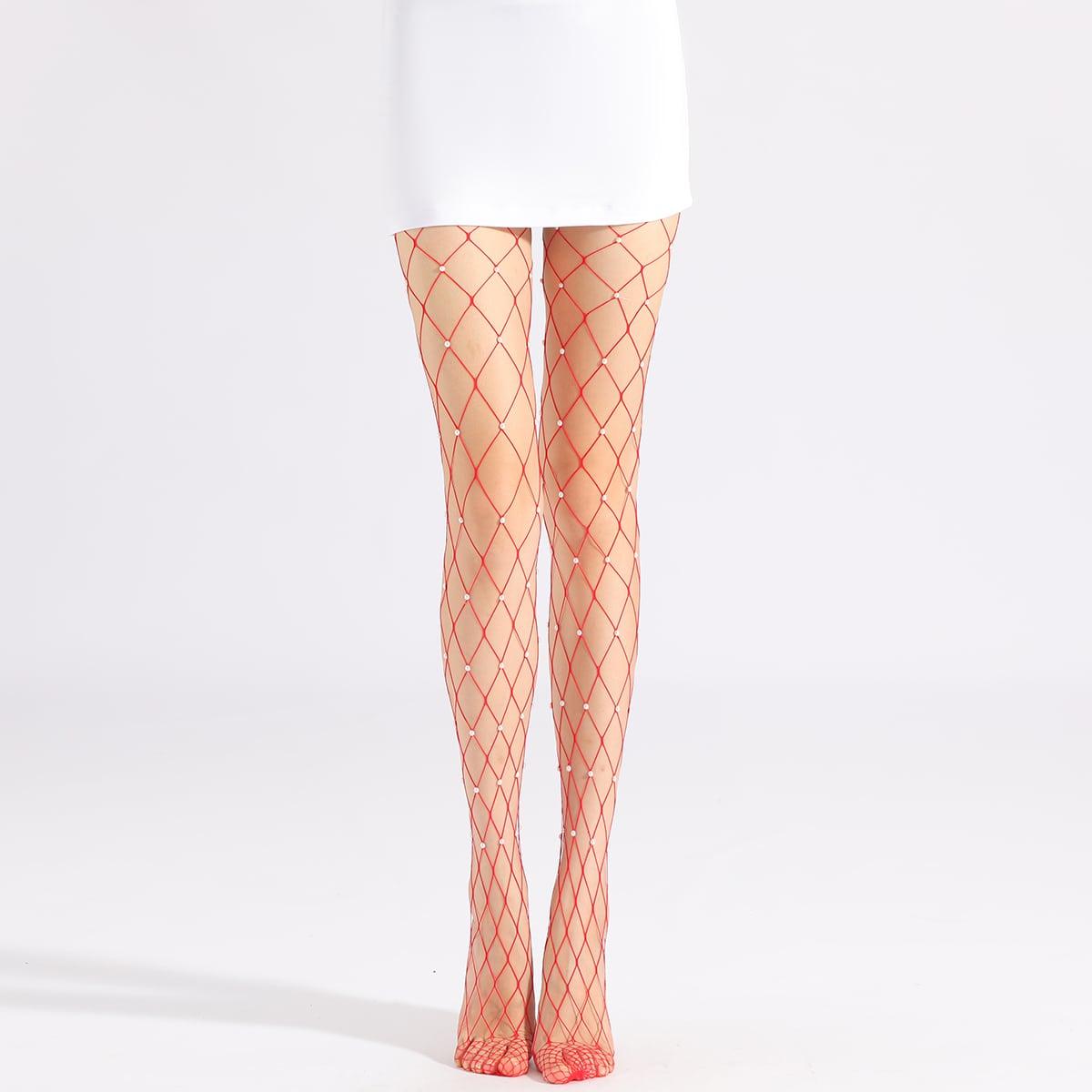 Сетчатые носки с искусственным жемчугом