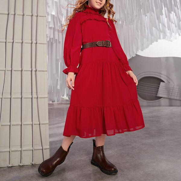 Girls Frill Trim Flounce Sleeve Ruffle Hem Chiffon Dress Without Belt, Red