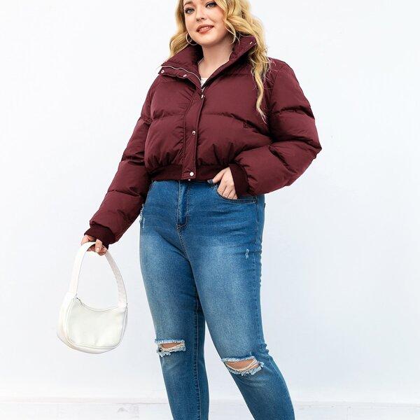 Plus Solid Zip Front Puffer Coat, Burgundy