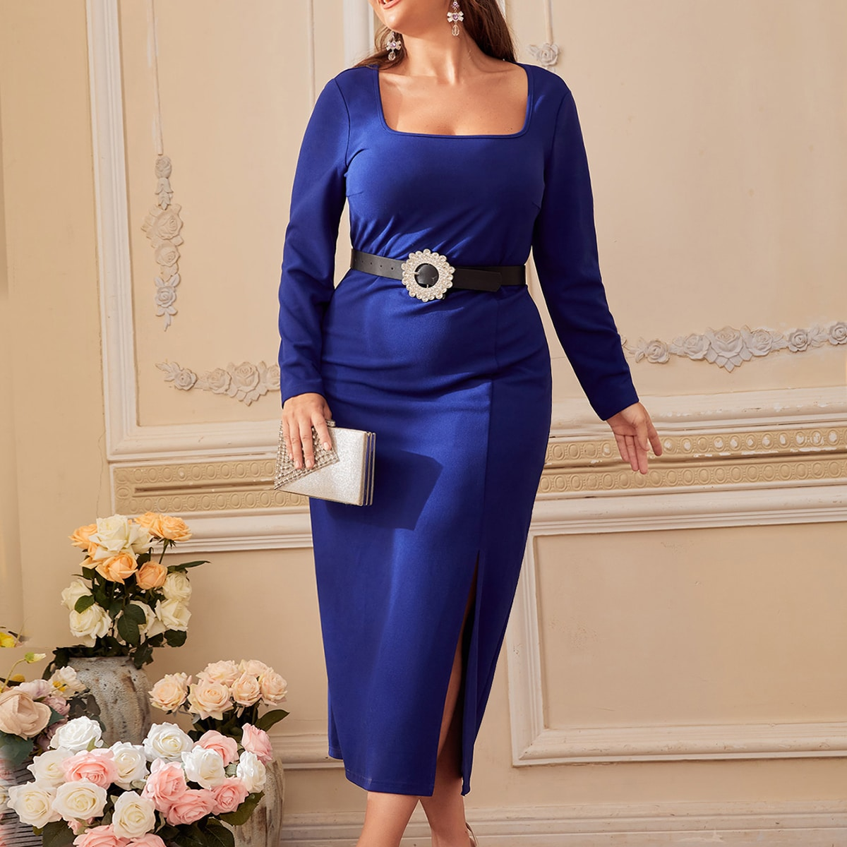 Plus Square Neck Slit Thigh Bodycon Dress Without Belt