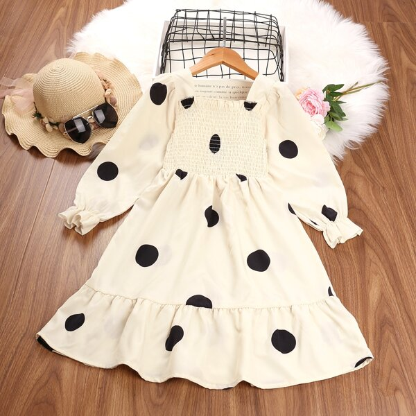 Girls Polka Dot Shirred Flounce Sleeve Ruffle Hem Dress, Beige