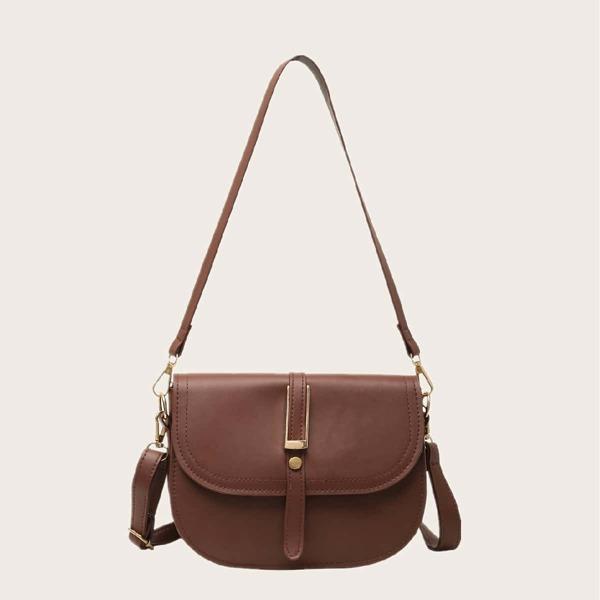 Minimalist Flap Shoulder Bag, Coffee brown