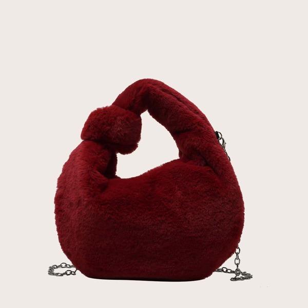 Minimalist Fluffy Chain Satchel Bag, Burgundy
