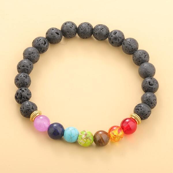 Stone Beaded Bracelet, Black