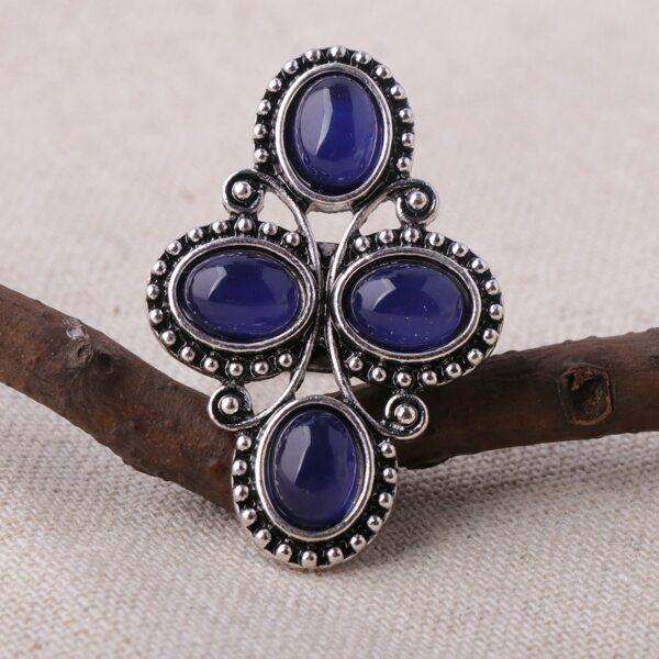 Gemstone Decor Ring, Blue