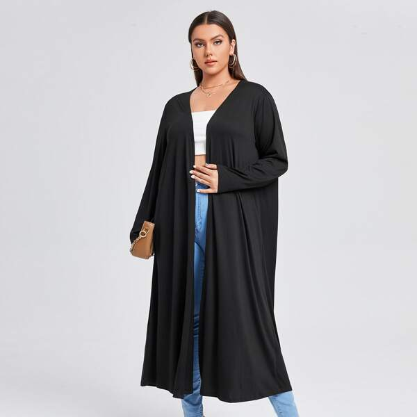 Plus Solid Open Front Abaya, Black