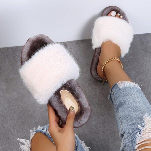 Fuzzy Slide Sandals, White