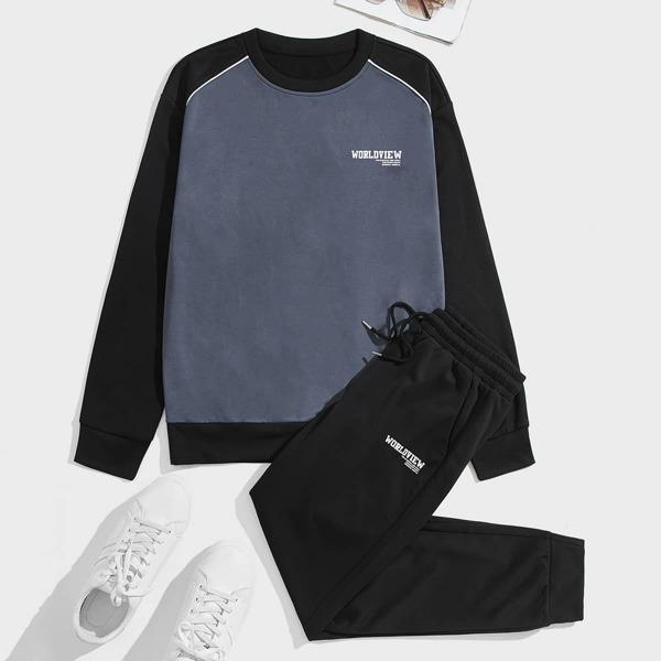 Men Slogan Graphic Color Block Pullover & Drawstring Waist Sweatpants, Multicolor