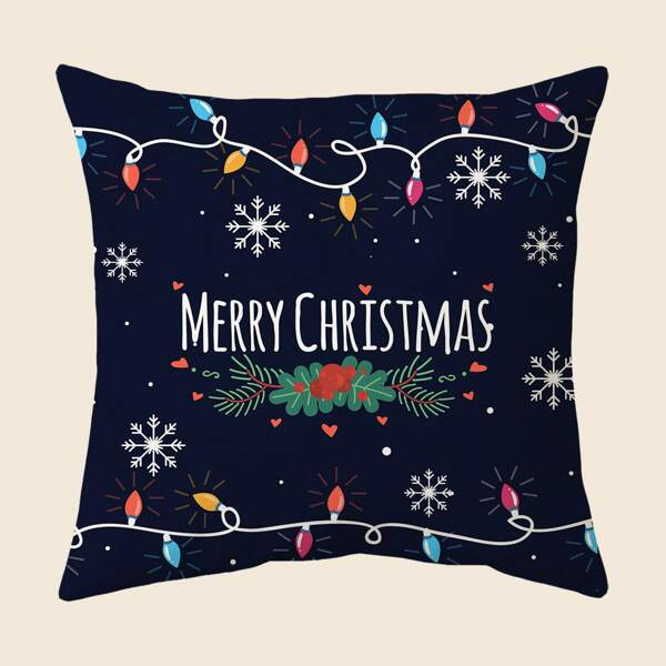Christmas Slogan Graphic Cushion Cover Without Filler, Multicolor