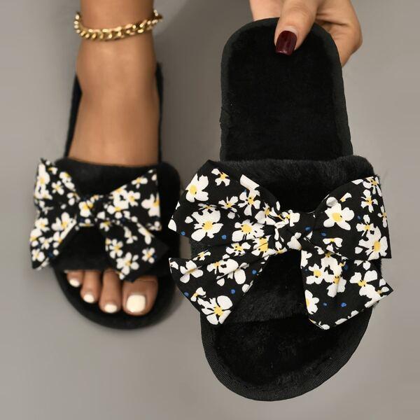 Bow Decor Fuzzy Slippers, Black