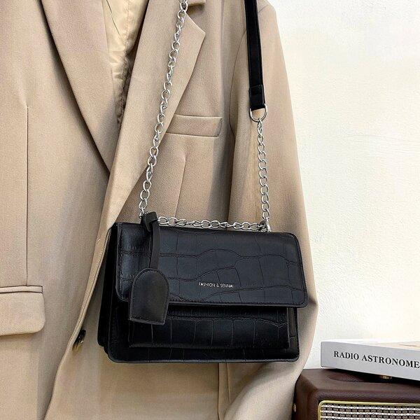 Croc Embossed Chain Flap Crossbody Bag, Black
