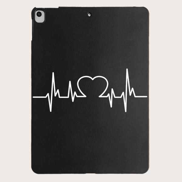 Electrocardiogram Pattern Case For iPad, Black and white