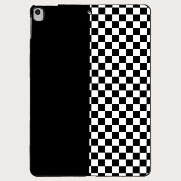 Checkered Pattern Case For iPad, Black and white