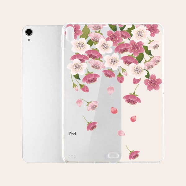 Clear Flower Pattern Case For iPad, Multicolor